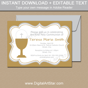 Gold and Silver First Communion Invitations for Girls and Boys