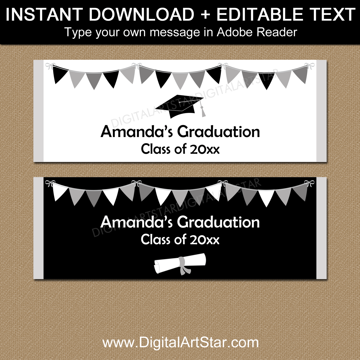 Downloadable Graduation Candy Bar Wrappers Editable