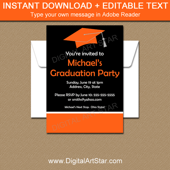 Black Orange Graduation Invitation Template Printable