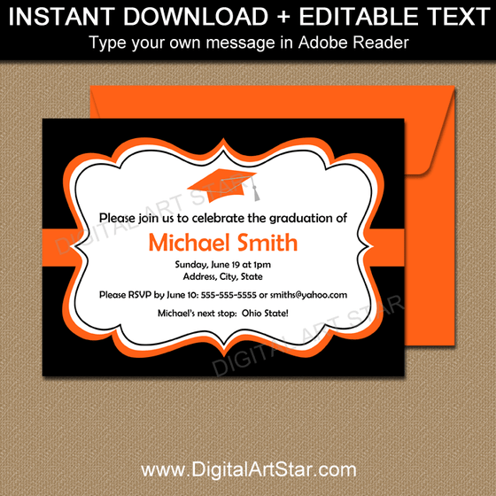 Printable Graduation Party Invitation Orange Black White