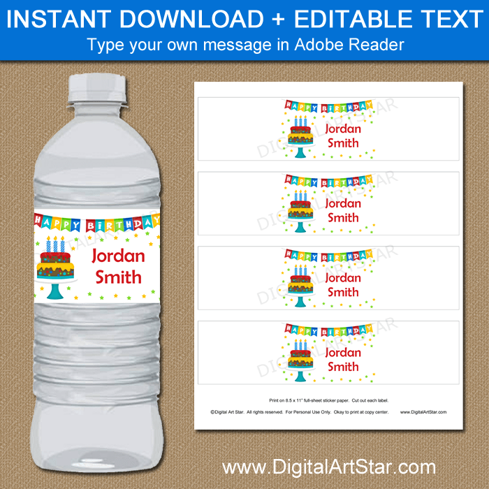 Birthday Party Water Bottle Label Template