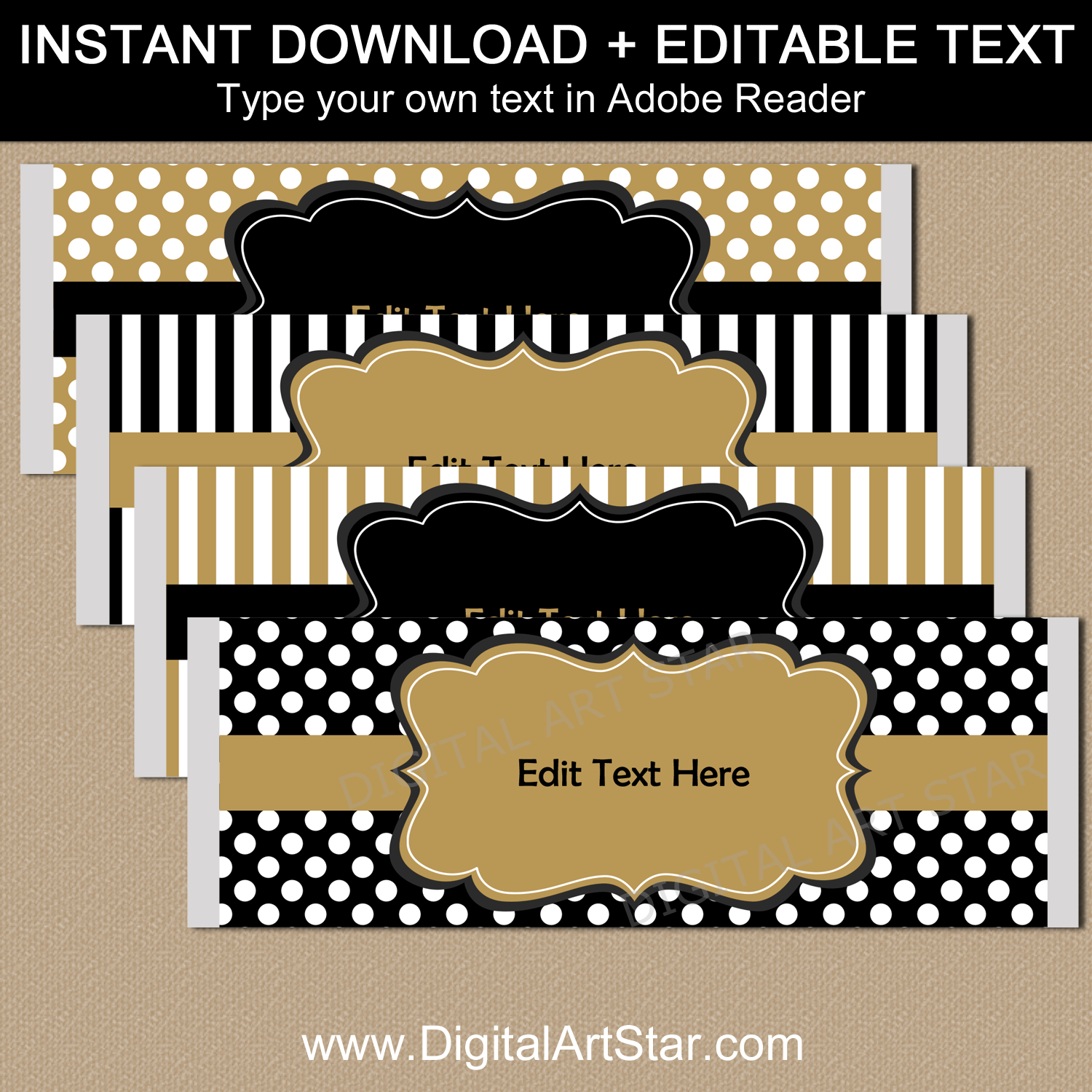 Downloadable Black and Gold Candy Bar Wrappers for Party Favors