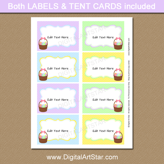 Editable Easter Food Labels Printable