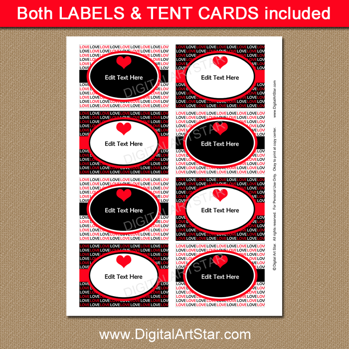 Red and Black Candy Buffet Labels