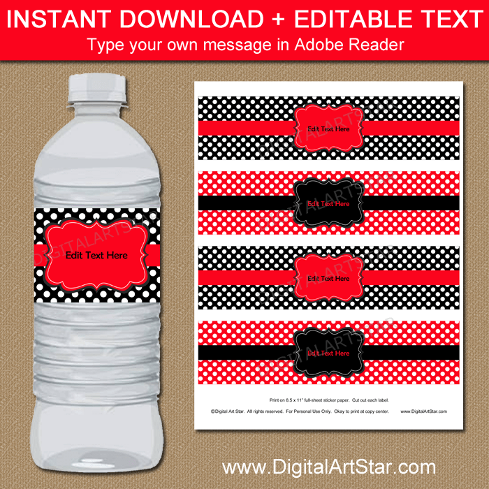 Editable Red and Black Water Bottle Labels Template with Polka Dots