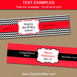 Editable Birthday Water Bottle Labels Red Black White