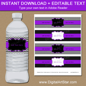 Editable Black and Purple Water Bottle Label Template