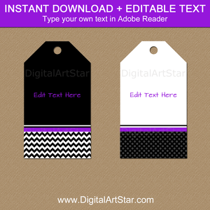 Editable Black White Purple Favor Tags Template Printable Hang Tags