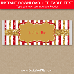 Editable Candy Bar Wrapper Template Red Gold White