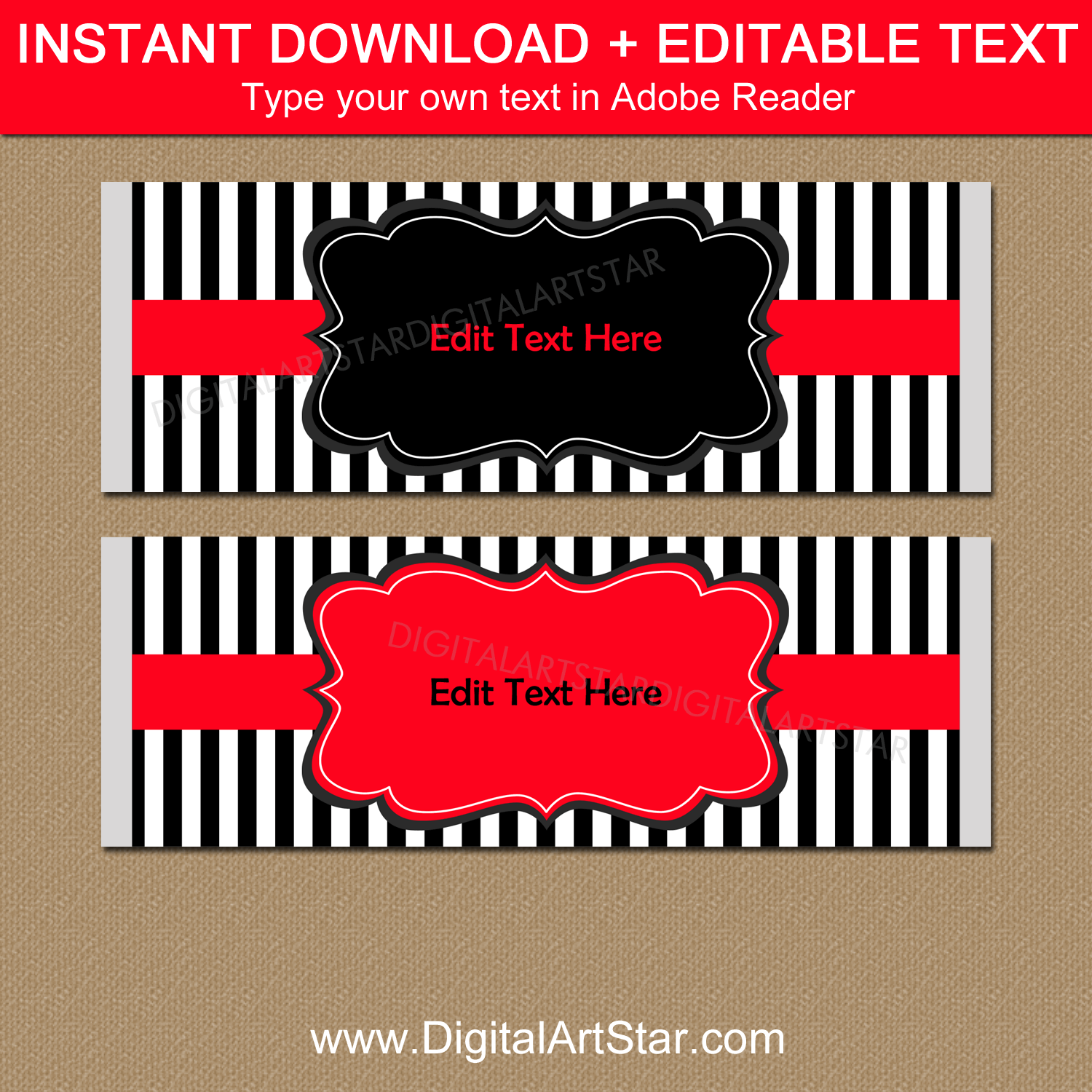 Editable Candy Bar Wrappers Red Black White