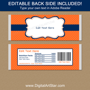 Editable Candy Bar Wrappers Template Orange and Navy