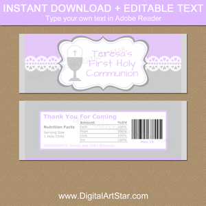 Editable First Communion Candy Bar Wrappers for Girls