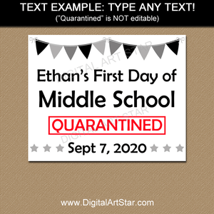 Editable First Day of Middle School Sign Template
