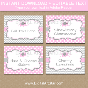 Editable Food Labels Template - Pink and Gray Elephant