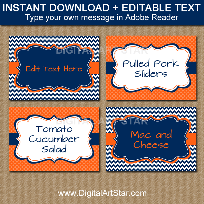 Editable Food Labels and Tent Cards in Navy Blue and Orange