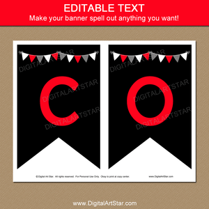 Editable Graduation Banner Black Red White