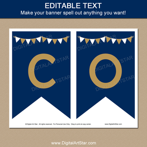 Navy Blue Gold White Graduation Printable Banner