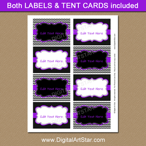 Editable Labels Purple Black White