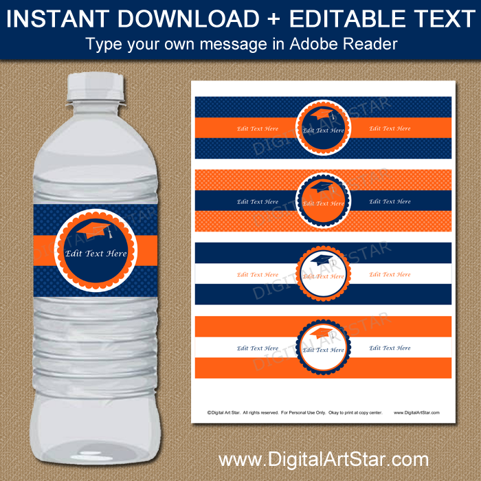 Editable Orange and Navy Graduation Water Bottle Labels