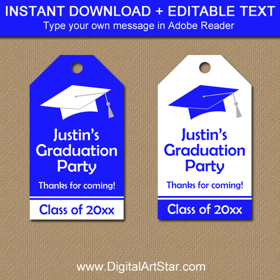 Editable Royal Blue Graduation Tags