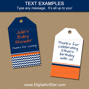 Editable Thank You Tags navy Blue Orange White