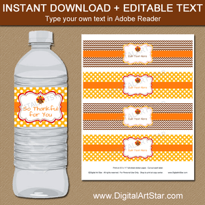 Editable Thanksgiving Water Bottle Labels Brown Yellow