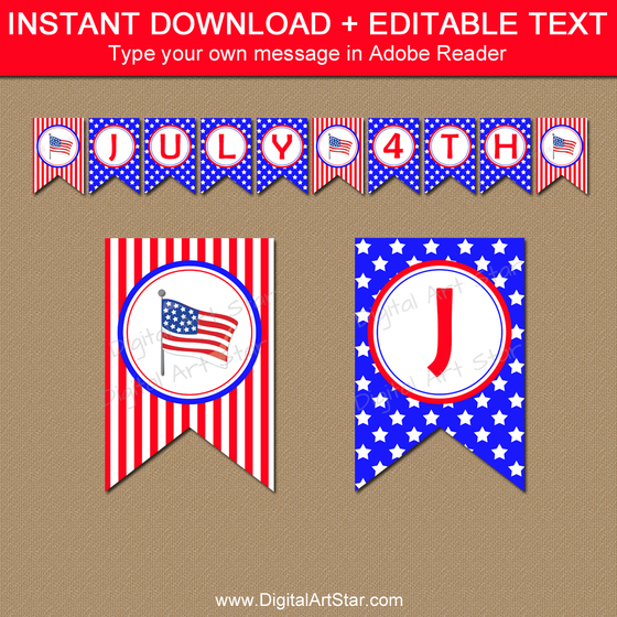 Editable 4th of July Banner Printable