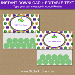 Instant Download Mardi Gras Party Favor Bag Toppers