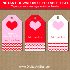Pink and Red Valentine Tag Template