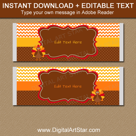 Editable Thanksgiving Candy Bar Wrappers