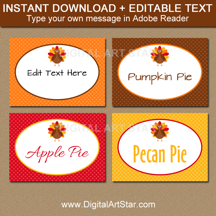 printable Thanksgiving food labels