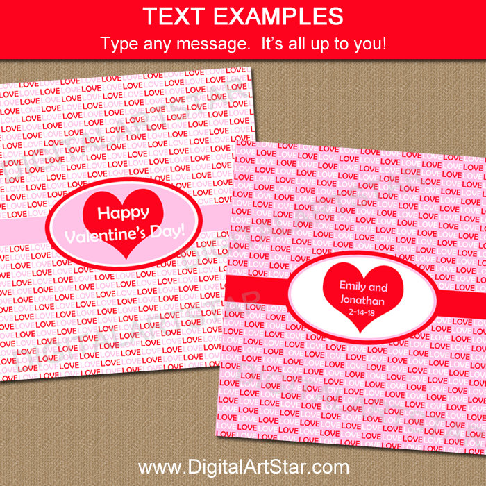 valentine candy bar wrapper templates - valentine party favors candy bar wrapper template