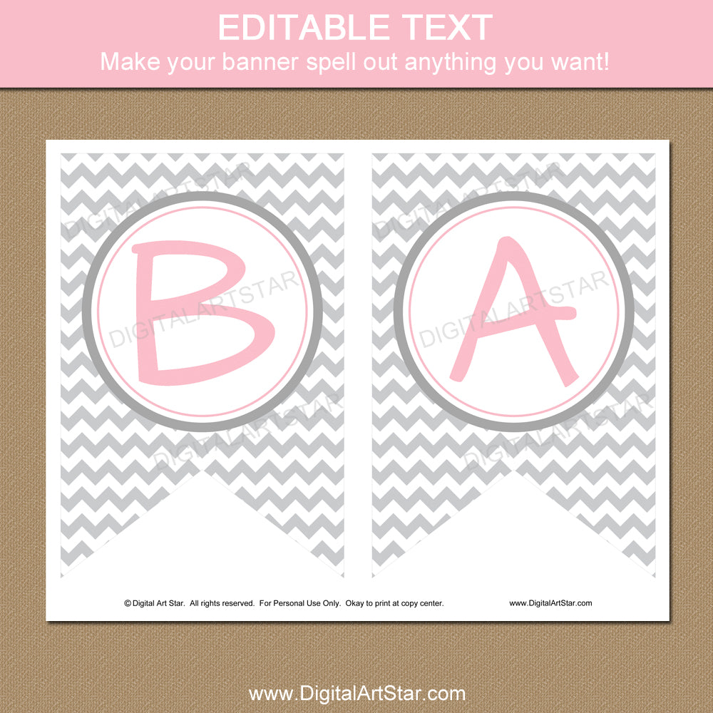 picture relating to Baby Shower Banner Printable named Kid Shower Banner Printable: Red and Grey Chevron