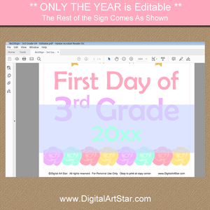 Unicorn First Day of Third Sign Printable