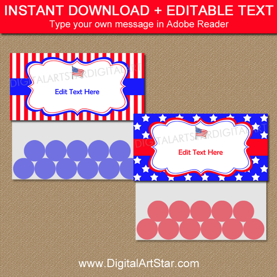 Editable 4th of July Treat Bag Toppers