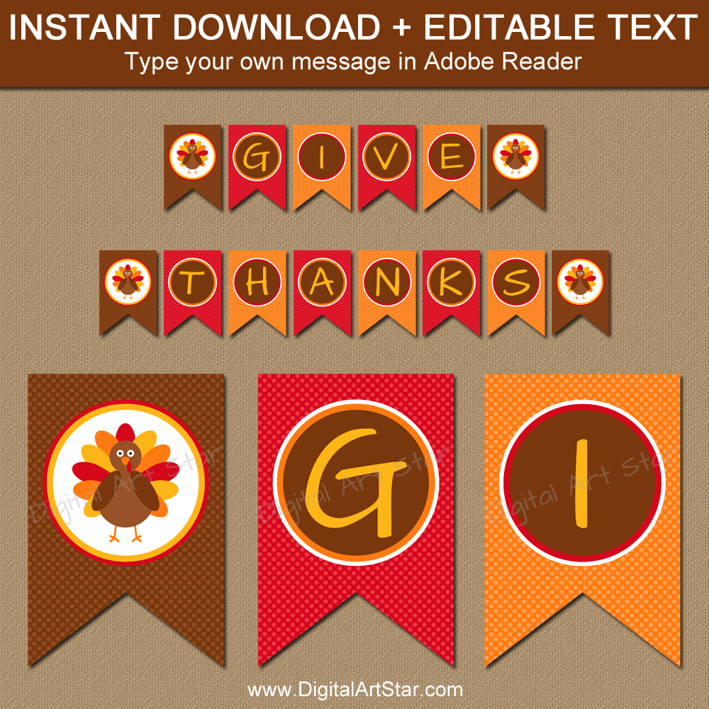 Thanksgiving Party Decorations - Editable Banner