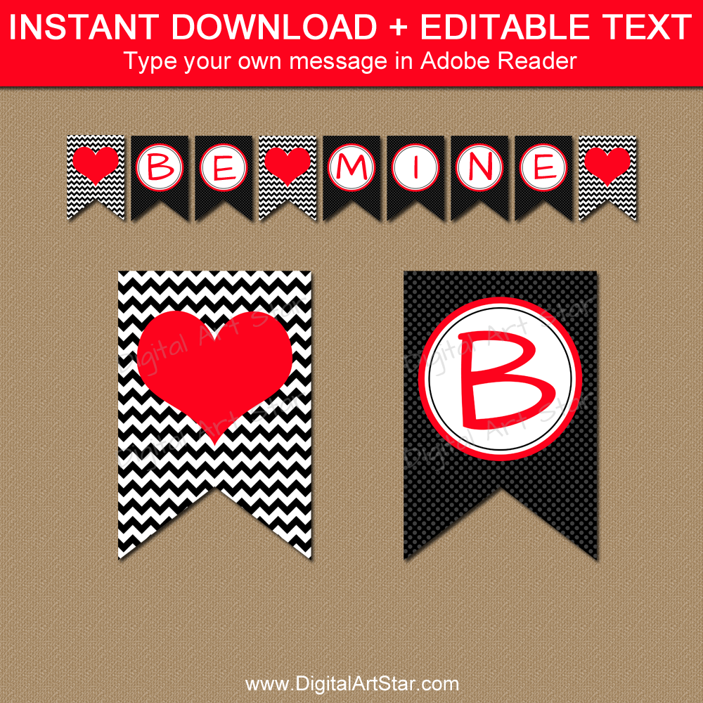 image relating to Valentine Banner Printable called Valentine Banner Printable inside Black and Pink
