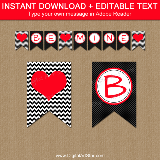 Valentine Banner Printable in Black and Red