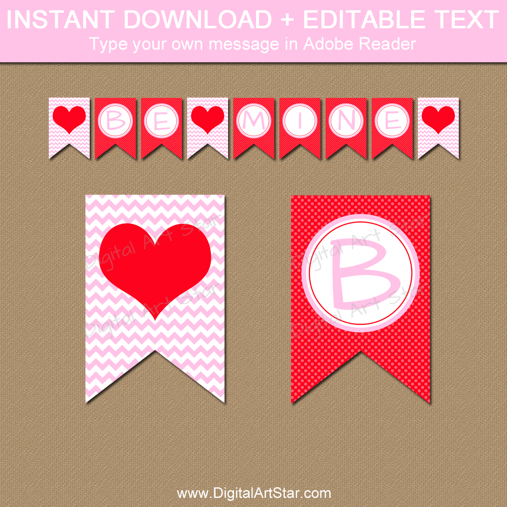 Pink and Red Valentines Day Banner - Editable Banner