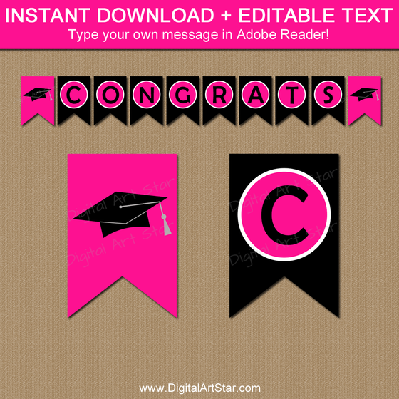 Instant Download Banner with Editable Text - Hot Pink and Black