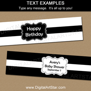 Wording Ideas for Black and White Water Bottle Labels