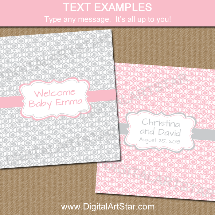 Editable Template for Party Favors in Pink and Silver