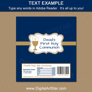 Editable First Communion Chocolate Wrapper Printable