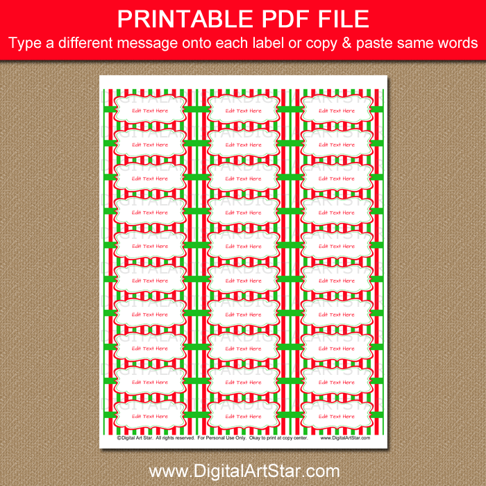 christmas address labels with red and green stripes