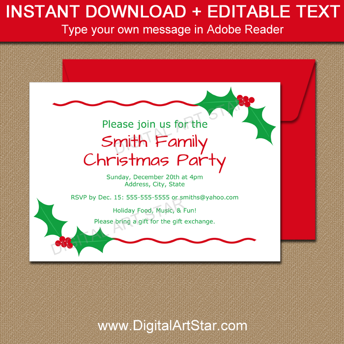 Editable Christmas Invites