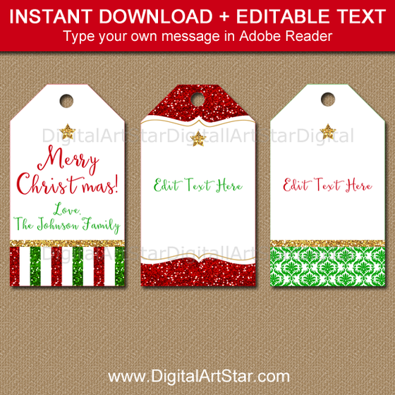 Christmas Tag Template with Editable Text
