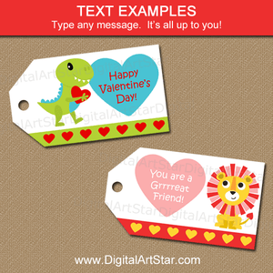 Editable Valentine Tags with Dinosaur and Lion