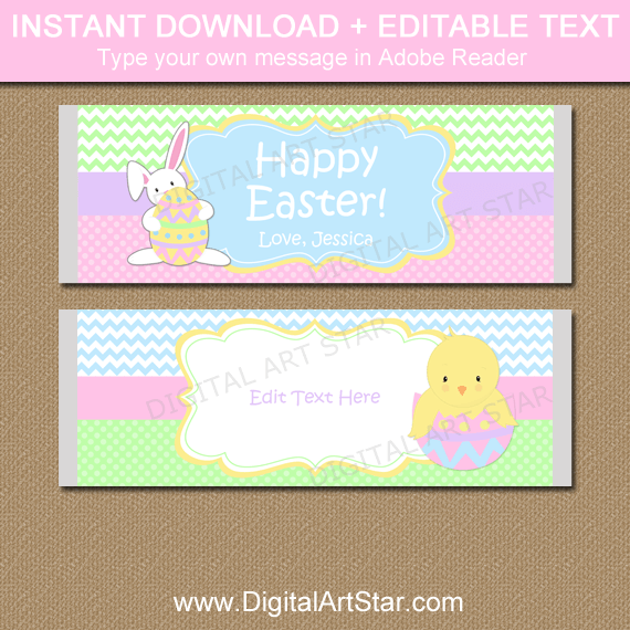 Editable Easter Candy Bar Wrappers with Bunnies and Chicks
