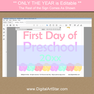 Unicorn First Day of Preschool Sign Printable