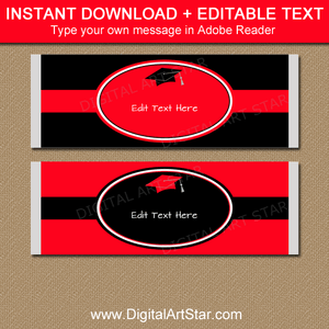 Graduation Candy Bar Wrappers Red and Black